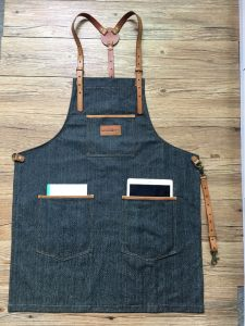 Custom Blue Work Uniform Apron with Cross Back Leather