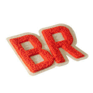 High Quality Color Letter White Felt Backing Sew on Chenille Embroidery Patch for Child′s Garment