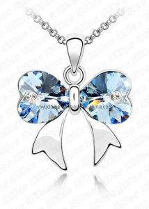 Bowknot Blue Crystal White Gold Necklace (1105955)