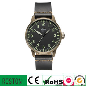 Leather Band Sport Watch with Black Case for Men