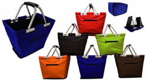Collapsible Aluminum Polyester Market Tote Foldable Shopping Basket (MC6002) pictures & photos