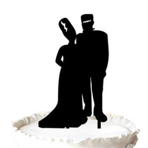 Frankenstein Couple Silhouette Wedding Cake Topper   Halloween Wedding Cake  Topper