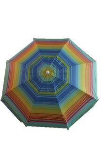 3.2FT Beach Umbrella, Sun Umbrella, Sripe Polyester with Sliver,