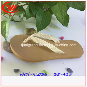 Ladies Sandals Canvas Strap Slipper pictures & photos