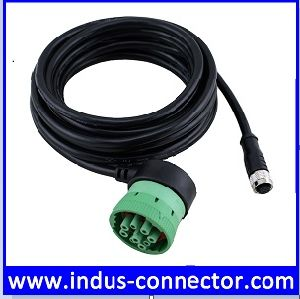 M12 Sensor Connector to Deutsch SAE J1939 9 Pin Right Angle Cable for  Vehicle