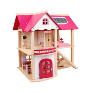 China Pretend Play Wooden Dollhouse Pink Doll House With Furniture