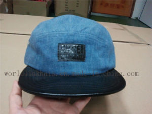 22ece793e25 China Custom Jean Denim 5 Panel Hat with Flat Leather Brim - China ...