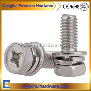 Cross Recessed Hex Head Sems Screws with Washer Attached pictures & photos
