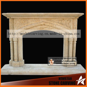 Mediterranean Arch Fireplace Mantel in Beige Cream Nsb052 pictures & photos