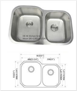 60/40 Undermount Stainless Steel Kitchen Sink with Cupc Certificate, Wash Basin pictures & photos