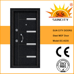 china mdf panel solid wood veneer steel door for exterior sc a235