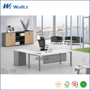 China Modern Design Mfc Board Powder Coated Steel Leg With Side Table Office Furniture Wooden Desk Executive