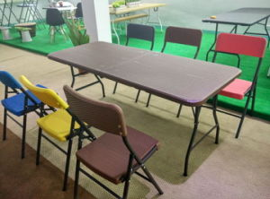Cheap Wicker Pattern Plastic Dining Set, Folding Chair, Folding Table