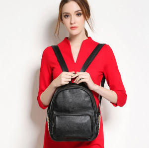 Newest Litchi Grain Genuine Leather Leisure Fashion Black Lady′s Backpack