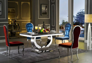 China Modern Style Marble Top Stainless Steel Frame Dining Table
