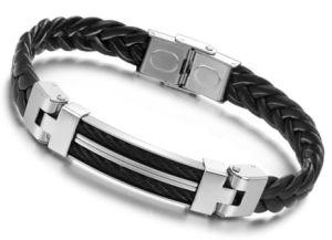 3d33662cf26bf 23cm Braided PU Leather Bracelets for Men Bangle&Bracelets Fashion Men  jewelry Black