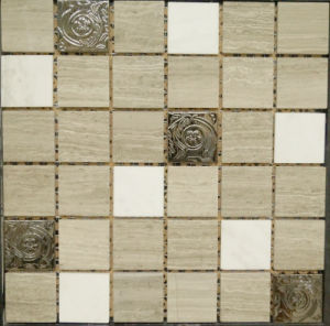 Metal Mixed Natural Marble Stone Mosaic Floor Tile (FYSM091)