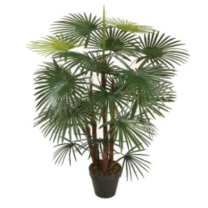 Artificial Five Finger Palm with Plastic Pot for Nice Looking Decoration