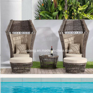 China New Design Outdoor Garden Furniture Synthetic Rattan Lover Chair With Ottoman Coffee Table Yt1053 Wicker Sofa