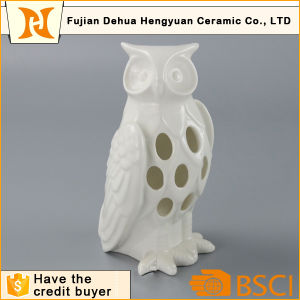 Hollow out design White Ceramic Owl Candle Holder pictures & photos
