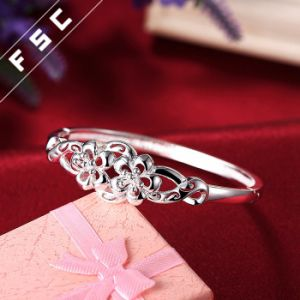Womens Fashion Silver Plated Cubic Zirconia Double Flowers Bracelet pictures & photos