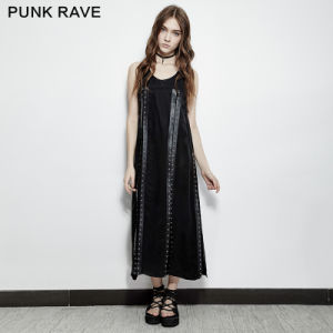 Pq-157 Punk Rave Summer Comfortable Jumper Straps Eyelets Split Dress