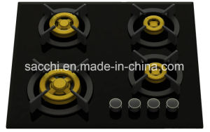 Supreme Four Brass Burner Gas Hob (8mm Glass)