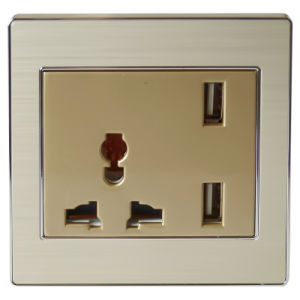 Parlor Wall Power Socket with 2400mA USB Charger (UK/BS)