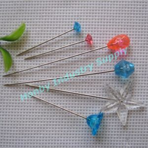 Assorted Colorful Unbending Straignt Plastic Crystal Head Pin