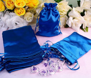 Fake Silk Drawstring Pouches with Ribbon Strings