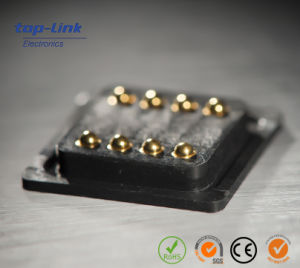 Double Row 8 Pin, Spring-Loaded Pogo Pin Connector, Gold-Plated