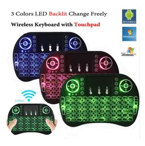 Hot Selling I8 2 4G Wireless Mini Keyboard Air Mouse Touchpad with  Backlight 3 Color Option