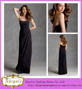 Hot New Chiffon Black A-Line Strapless Sleeveless Ruched Bridesmaid Dress Cheap Prom Dresses Yj0080
