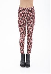 Kaleidoscope Print Knit Leggings with Elasticized Waist pictures & photos