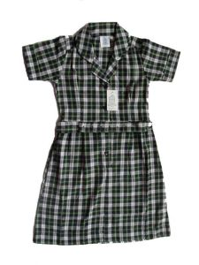T/C 65/35 Y/D Check Girl′s S/S Dress