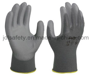Grey Work Safety Glove with PU Coated (PN8002) pictures & photos