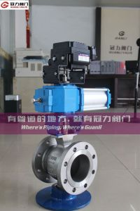 Pneuamtic Cylinder Flange Ss V Segment Ball Valve pictures & photos