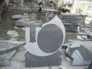 Impala Grey Granite Headstone/Monument/Tombstone with Angel, Crossing, Flower Sculpture