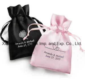 Personalized Custom Printed Small Black Satin Wedding Favor Bags pictures & photos