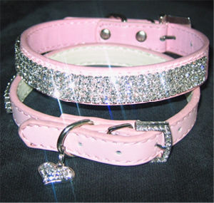 Pink Rhinestone/Crystal/Diamond Leather Pet Collar, Bling Pet Products pictures & photos