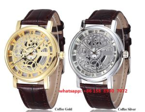 Fashionable Quartz Movement Watch with Gunine Leather Band for Unisex Fs494
