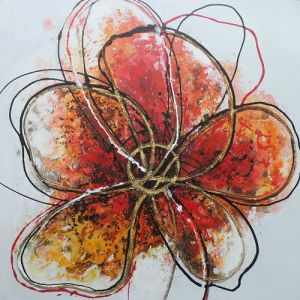 Abstract Canvas Painting Designs Simple Red Flower Handmade Oil Painting on Canvas