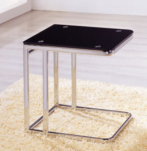 Stainless Steel Legs Black Modern Tempered Glass Small Living Room Side Table