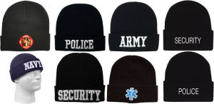 Black Military and Law Enforcement Warm Winter Hat Beanie (A722)