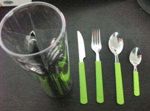 16PCS Plastic Handle Stainless Steel Cutlery Set