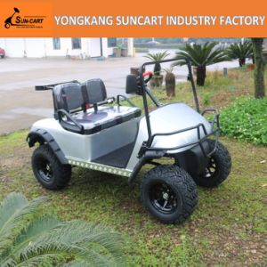 2 Seater Indoor Electric Golf Car with No Roof, Silivery Cart Body with Black and Gray Seater Color