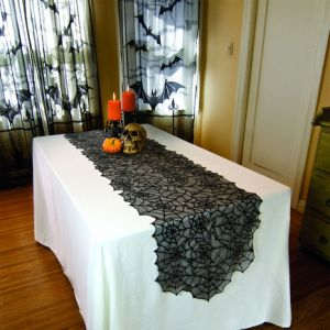 100% Polyester Lace Web Table Runner (PM024) pictures & photos