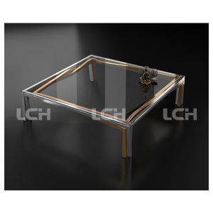 Glass Square Shape Coffee Table for Living Room