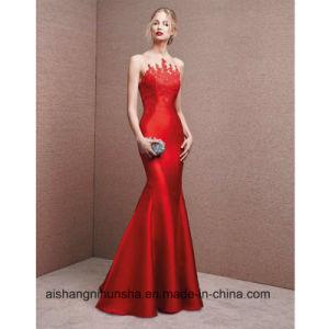 a00b817701 China New Fashion Red Satin with Appliques Mermaid Prom Dresses ...