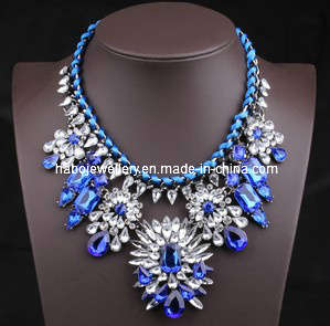 Shourouk Style Stone Flower Braided Fashion Necklace/Fashion Jewelry (XJW13092)